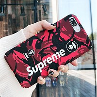 Supreme Fashion New Letter Camouflage Women Men Luminous Phone Case Protective Cover Red