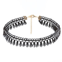 Fringed Black Lace Choker