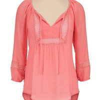 Square Crochet Front Peasant Top