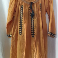 1990s Boho style Dress in  Mustard Yellow with Indian Style Embroidery, Size Large