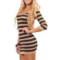 Womens Seamless Scoop Neck 3/4 Sleeve Striped Color Block Bodycon Party Dress