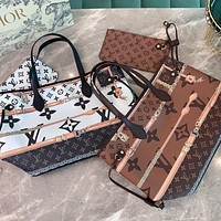 LV 2020 new simple classic old-fashioned wild handbag two-piece bag
