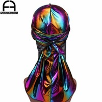 Men's Colorful Sparkly Durags Turban Bandanas Men Shiny Silky Durag Headwear Headband Hair Cover Accessories Wave Caps Rags Hat
