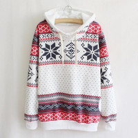 Fashion Women Hoodie Snowflake Print Long Sleeve Pullover Christmas Sweatshirt Sportwear Elegant Shirt = 1932653508