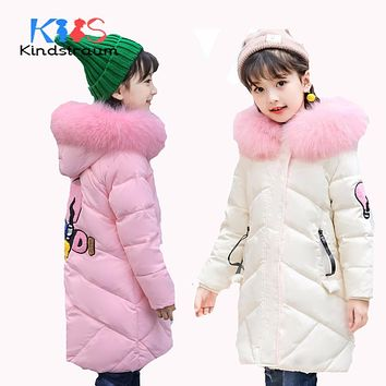 Winter Girls Thick Coat Hooded Fur Kids Super Warm Duck Down Jacket Solid Children Clothes