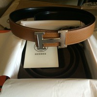 Brown Hermes Mens 95cm Leather Belt With Silver H Buckle