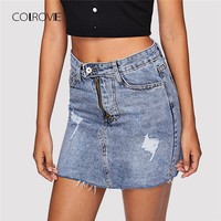 Frayed Hem Ripped Denim Skirt Summer High Waist Sheath Mini Skirt Clothing Zipper Casual Women Jeans Skirt