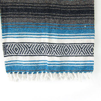 Vintage blue, black and white Mexican Striped Ethnic Lap Blanket / twin