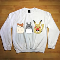 Chibi Fandoms - Pikachu Hamtaro and Totoro sweatshirt,long sleeve,sweater.