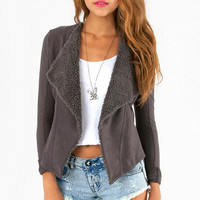 Dark Grey Lapel Long-Sleeve