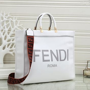 FENDI Women Leather Tote Crossbody Satchel Shoulder Bag Handbag
