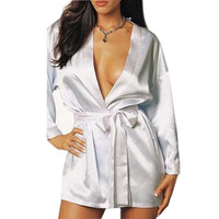 Sexy Lingerie ice silk sexy home clothes sexy robe spa bathrobe