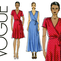 Wrap Dress Pattern Uncut Vogue V8896 Formal Evening Maxi Cocktail or Day Dress Short Sleeves Sleeveless Flared Skirt Womens Sewing Patterns