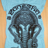 Woman's size S Cute Yoga Outfit Tee Ganesha Buddha by letshugitout