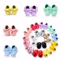 14 Colors Baby Girls Princess Fringe Soft Moccasin Girl Leather Crib Shoes 0-18M