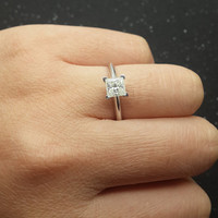 Princess Cut Brilliant Moissanite Engagement ring White gold,Solitaire wedding band,14k,Gemstone Promise Ring,Charles & Colvard,5x5mm one