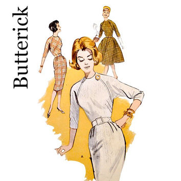60s Vintage Wiggle Sheath Dress Pattern Optional Full Skirt Jewel Neckline Raglan Sleeves Butterick 9465 Sewing Patterns Size 12 Bust 32
