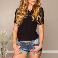 Julie Lace Up Top - Black