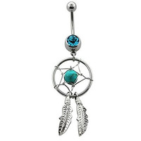 Silver-tone Stainless Steel Turquoise Bead Dreamcatcher Belly Button Navel Banana Ring