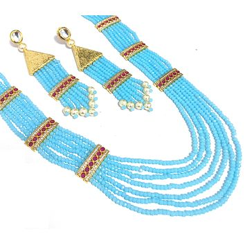 Multi stranded light blue crystal bead long chain necklace and tassel earring set