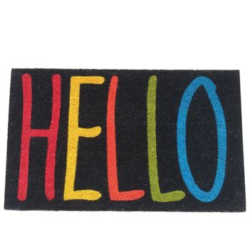 Colorful HELLO Non-slip Coir Doormat
