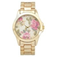 Women's Geneva Platinum Floral Round Face Link Watch - Assorted Colors