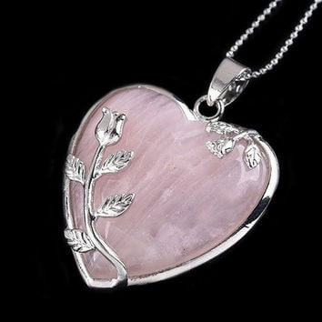 Fashion Rose Quartz Alloy Flower Necklace Pendant Heart Inlaid Charm Jewelry = 1946740804