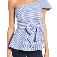 J.O.A. Stripe One-Shoulder Peplum Top | Nordstrom