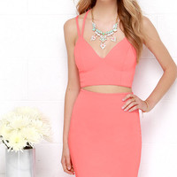 Class and Sass Neon Coral Two-Piece Dress