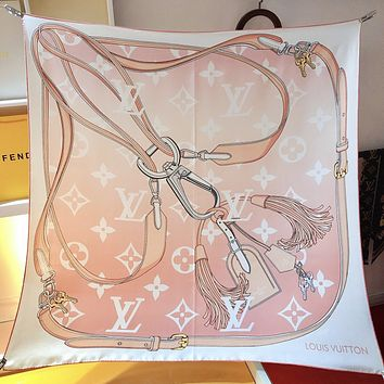 LV Louis Vuitton new letter embroidery ladies fringed scarf