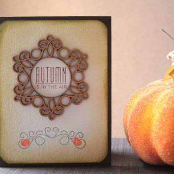 Fall Handcrafted Card with Wood Embellishment - Fall Greeting Card