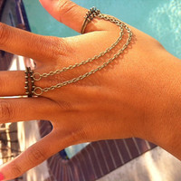 Antique Gold Double Chain Ring