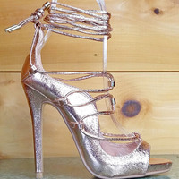 CR Keish Demon Strappy Lace Up High Heel Shoe 6 -11 Rose Gold