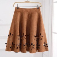 Early Autumn New Fashion Suede Skirt Women Hollow Solid Tutu Skirts 2016 Retro Style Casual All-Match Skirts Saia Feminina