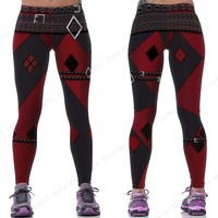 Red Harleen Quinzel Power Flex Yoga Leggings Batman Harley Quinn Fitness Gym Workout Running Tights Sexy Slim Skinny Pants Woman