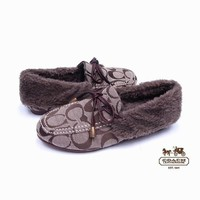COACH Women Fashion Leather Winter Warm Fur Flats Shoes-2