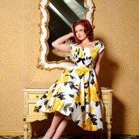 Evelyn Dress in Yellow and Black Vintage Floral Print