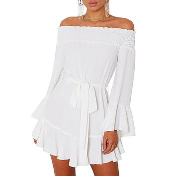 Off The Shoulder Dress- White