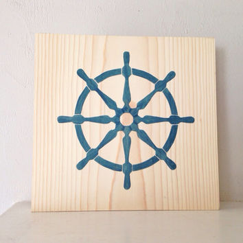 Customizable Ship Wheel Sign, Stained and Hand Painted, nautical/ beach decor, birthday gift, home decor, vacation house, summer decor