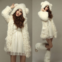 2016 New Women Thicken Fleece Coat Jacket Fashion Winter Warm Outerwear Hoodies Kawaii Bear Ears Hooded Chaquetas Mujer