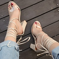 Summer Popular Women Cool High-Heel Strapping Large-Size Sandals High-Heeled Shoes Beige