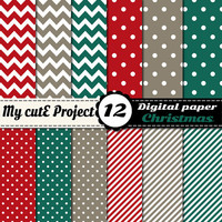 Christmas - Instant Download - DIGITAL Paper - 12X12 inches & A4 -red, green, polka dots, stripes, chevron