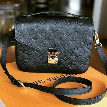 LV Louis Vuitton Ladies Embossed Letters Leather Crossbody Bag Shoulder Bag Envelope Bag