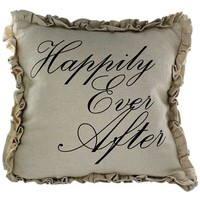 """16 1/2"""" x 16 1/2"""" Happily Ever After Burlap Pillow   Shop Hobby Lobby"""