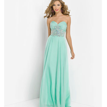 (PRE-ORDER) Blush 2014 Prom Dresses - Mint Strapless Chiffon Paisley Prom Gown