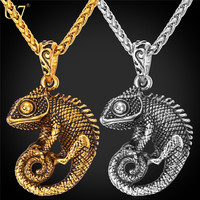 U7 Statement Necklace For Women/Men Jewelry 18K Gold Plated Stainless Steel Chameleon Dragon Big Necklaces & Pendants P594