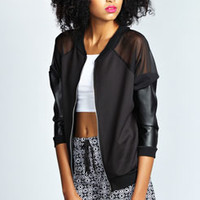 Ella Sheer And Faux Leather Panel Bomber Jacket
