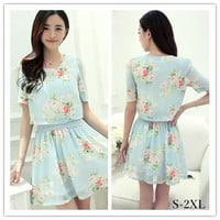 S-2XL BlueFloral Fake Two Piece Lovely Summer Dress SP152419