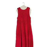 Red Corduroy Dress With Pockets Women Dungaree Red Romper Dress Red Jumper Dress Long Red Dress Corduroy Romper Winter Dress Women Christmas