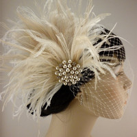 Rhinestone Pearl Bridal Feather Fascinator Ivory by IceGreenEyes